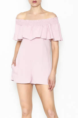 Cotton Candy LA Off The Shoudler Romper $58 thestylecure.com