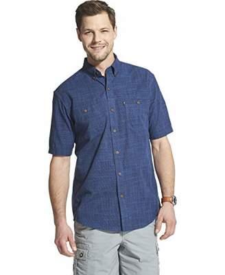 G.H. Bass & Co. Men's Big and Tall Crosshatch Short Sleeve Button Down Solid Shirt