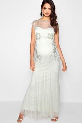 boohoo Maternity Lois Wedding Embellished Fishtail Dress