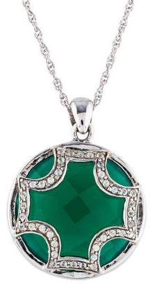 Elizabeth Showers Dyed Chalcedony & White Sapphire Maltese Pendant Necklace
