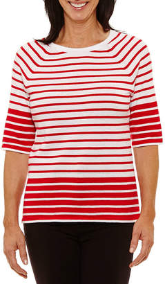 Sag Harbor 3/4 Sleeve Crew Neck Stripe T-Shirt-Womens