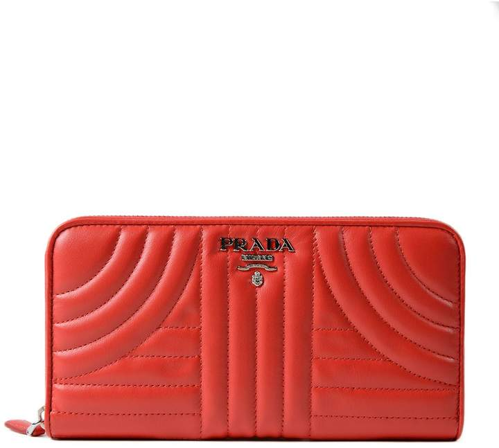 Prada Soft Calf Impunture Zip Around Wallet