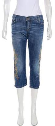 Dolce & Gabbana Low-Rise Embroidered Jeans