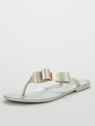 Ted Baker Glamarb Bow Detail Jelly Flip Flops - Silver