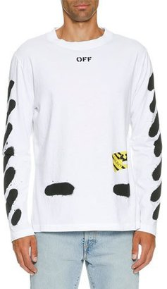 Off-White Spray-Paint Logo Long-Sleeve T-Shirt, White/Black $360 thestylecure.com