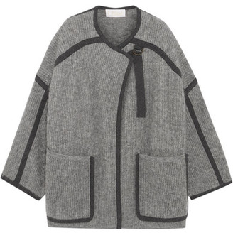 Chloé - Iconic Two-tone Mohair-blend Coat - Light gray