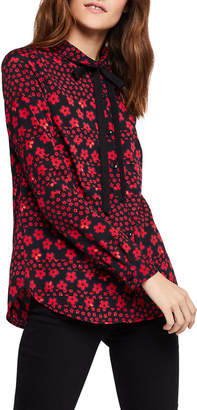 BCBGeneration Floral Tie-Front Button-Down Shirt