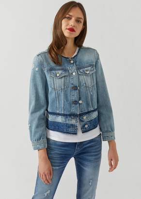 Emporio Armani Jacket In Delave Effect Denim With Frayed Detailing