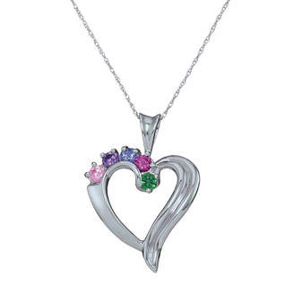FINE JEWELRY Personalized Simulated Birthstone Heart Pendant Necklace