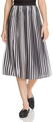 Eileen Fisher Petites Striped Pleated Silk Midi Skirt
