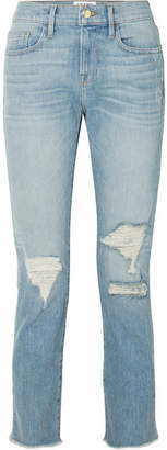 Frame Le Boy Cropped Distressed High-rise Straight-leg Jeans - Mid denim