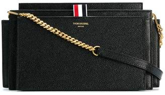 Thom Browne Accordion Bag (29,5x16x8 Cm) With Detachable Chain Shoulder Strap In Pebble Lucido Leather