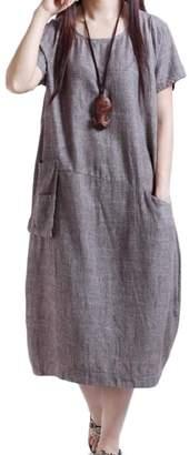 cheelot Women's Dress, Plus Clothing Cotton Linen Pockets Loose L