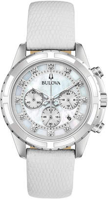 Bulova Women's Chronograph Diamond-Accent White Leather Strap Watch 36mm