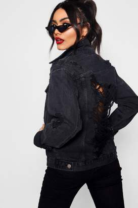 boohoo Meena Black Oversize Distressed Denim Jacket