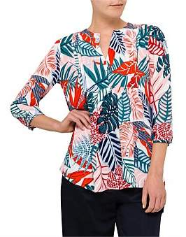 David Jones Tropical Print Pin Tuck Shirt