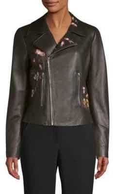 Elie Tahari Mae Embroidered Moto Jacket