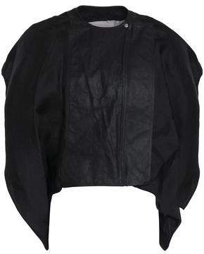 Rick Owens Draped Silk-Organza And Leather Jacket