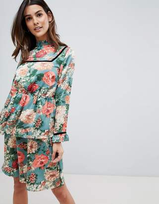 Vila Velvet Trim Floral Midi Dress