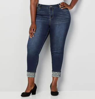 Avenue Pearl Trim Cuff Skinny Jean
