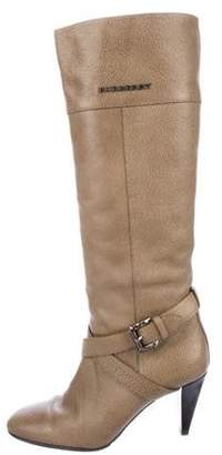 Burberry Leather Knee-High Boots Brown Leather Knee-High Boots