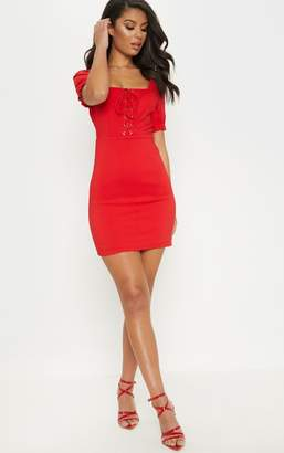 PrettyLittleThing Red Lace Up Frill Detail Bodycon Dress