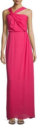 Parker Selena Asymmetric-Neck Column Gown, Roseberry $298 thestylecure.com