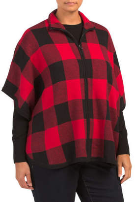 Plus Zip Front Tartan Plaid Poncho