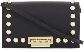 Zac Posen Earthette Slim Leather Crossbody Bag with Pearly Studs