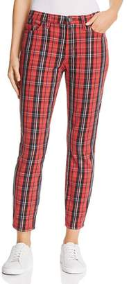 Current/Elliott The Stiletto High-Rise Skinny Jeans in Red Tartan Plaid
