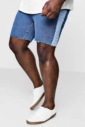 boohoo Big And Tall Loose Fit Side Panel Denim Shorts