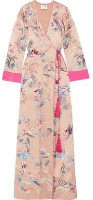Murad Zuhair Printed Silk-Satin Maxi Wrap Dress