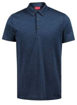 HUGO Boss Regular-fit knitted polo shirt in lightweight cotton jacquard L Dark Blue