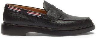 Thom Browne Grosgrain Trim Pebbled Leather Penny Loafers - Mens - Black