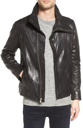 Men's Lamarque Funnel Neck Leather Jacket $450 thestylecure.com