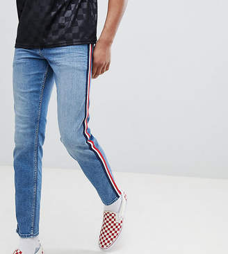 Asos DESIGN Tall Slim Jeans In Mid Wash Blue With White Side Stripe