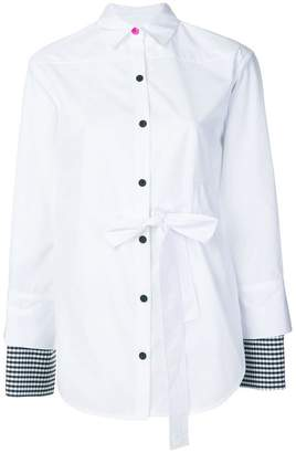 Eudon Choi contrast-cuff fitted shirt