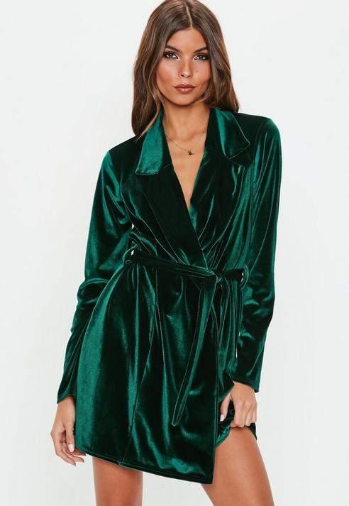Green Long Sleeve Velvet Belted Blazer Dress, Green