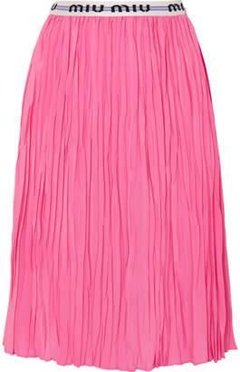 Miu Miu Pleated Silk Crepe De Chine Midi Skirt - Bubblegum