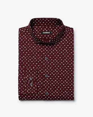 Express Extra Slim Space Print Cotton Dress Shirt