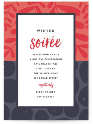 Mixed Prints Holiday Party Invitations