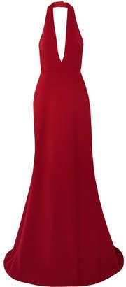 Reem Acra Crepe Halterneck Gown - Red