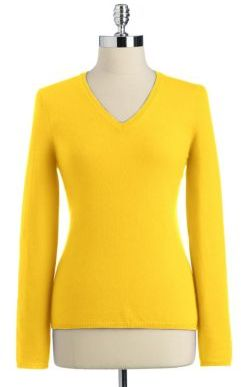 Lord & Taylor Fall Brights Cashmere Long Sleeve V-Neck Pullover Sweater