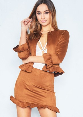 a33725e0a42f Missy Empire Missyempire Morgan Tan Suede Frill Hem Mini Skirt