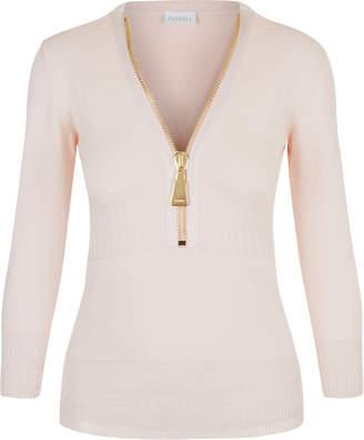 KNITWEAR Powder pink merino wool zipped sweater