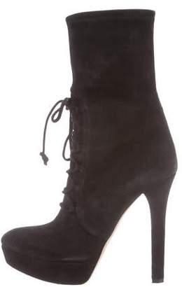 Miu Miu Lace-Up Suede Mid-Calf Boots