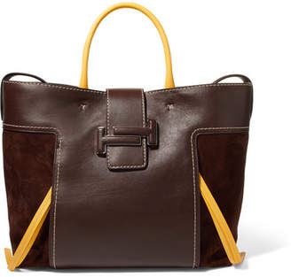 Tod's Double T Large Leather And Suede Tote - Chocolate