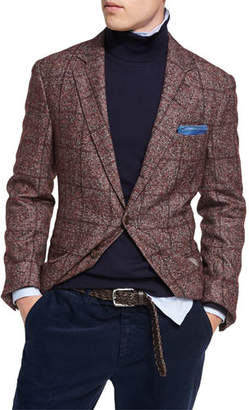 Brunello Cucinelli Plaid Alpaca-Wool Sport Jacket, Red