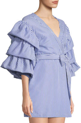 ENGLISH FACTORY Striped Puff-Sleeve Mini Dress