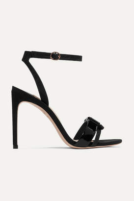Sophia Webster Andie Bow Moire-trimmed Glittered And Patent-leather Sandals - Black